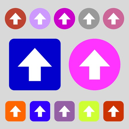 this side up: This side up sign icon. Fragile package symbol.12 colored buttons. Flat design. Vector illustration