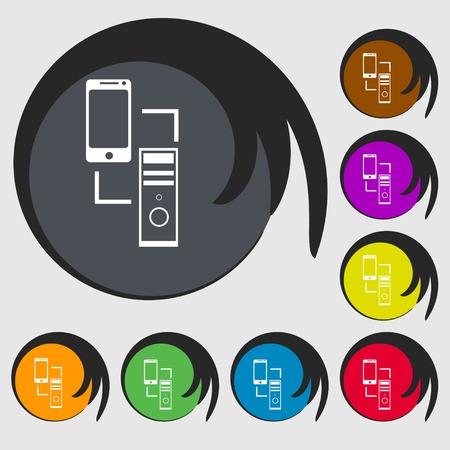 data synchronization: Synchronization sign icon. communicators sync symbol. Data exchange. Symbols on eight colored buttons. Vector illustration