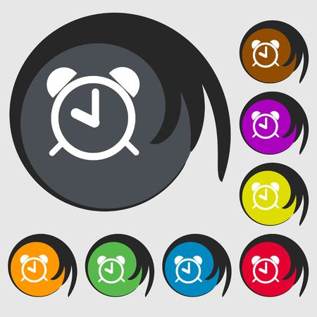 wake: Alarm clock sign icon. Wake up alarm symbol. Symbols on eight colored buttons. Vector illustration