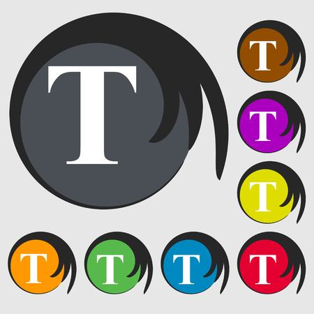 t document: Text edit icon sign. Symbols on eight colored buttons. Vector illustration