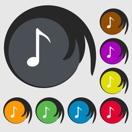 eight note: Music note icon sign. Symbols on eight colored buttons. Vector illustration