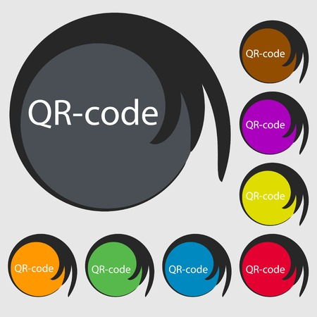 Qr code sign icon. Scan code symbol. Symbols on eight colored buttons. Vector illustration