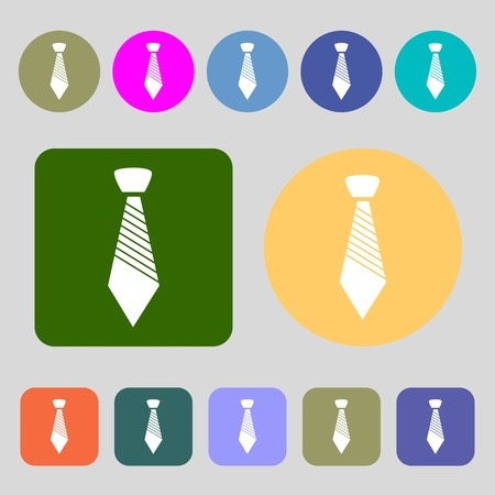 official wear: Tie sign icon. Business clothes symbol.12 colored buttons. Flat design. Vector illustration