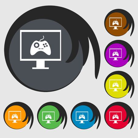 quality controller: Joystick and monitor sign icon. Video game symbol. Symbols on eight colored buttons. Vector illustration
