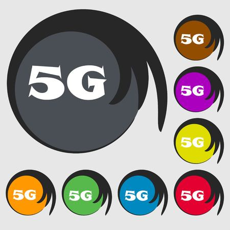 telecommunications technology: 5G sign icon. Mobile telecommunications technology symbol. Symbols on eight colored buttons. Vector illustration Illustration