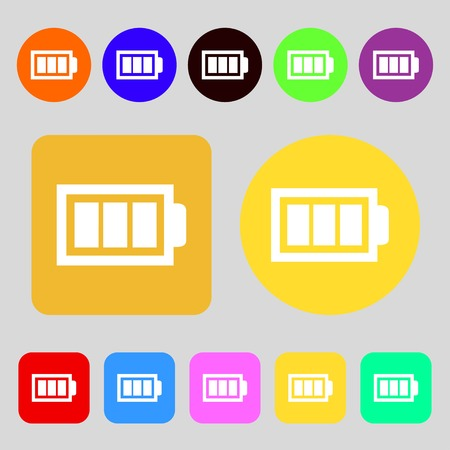 fully: Battery fully charged sign icon. Electricity symbol.12 colored buttons. Flat design. Vector illustration