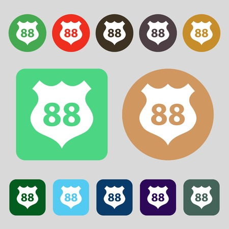 highway icon: Route 88 highway icon sign.12 colored buttons. Flat design. Vector illustration