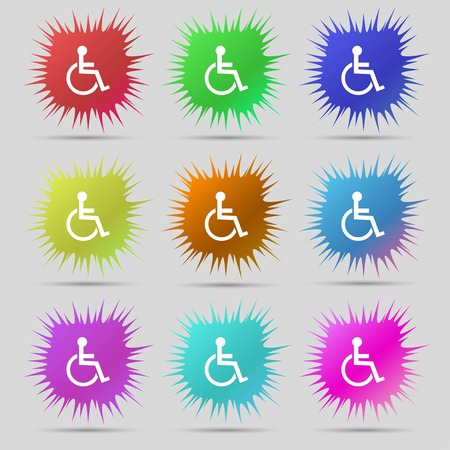 invalid: Disabled sign icon. Human on wheelchair symbol. Handicapped invalid sign. Nine original needle buttons. Vector illustration