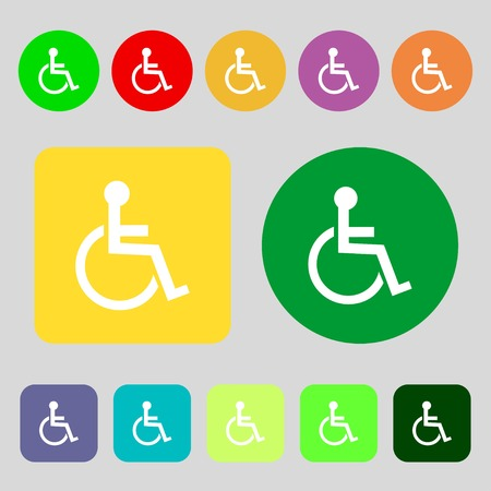 invalid: Disabled sign icon. Human on wheelchair symbol. Handicapped invalid sign.12 colored buttons. Flat design. Vector illustration