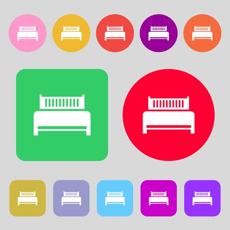 hotel bed: Hotel, bed icon sign.12 colored buttons. Flat design. Vector illustration Illustration