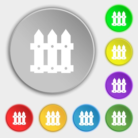 bucolic: Fence icon sign. Symbols on eight flat buttons. Vector illustration Illustration