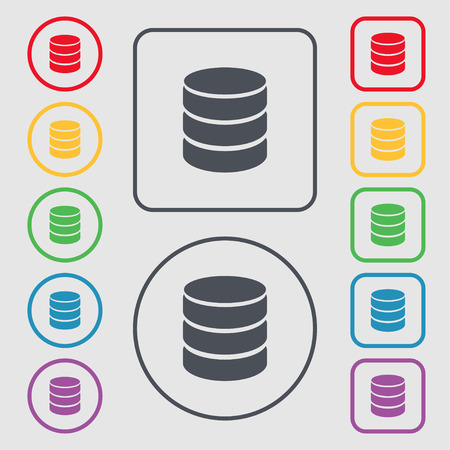 hard drive: Hard disk and database sign icon. flash drive stick symbol. Symbols on the Round and square buttons with frame. Vector illustration Illustration