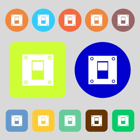 power switch: Power switch icon sign.12 colored buttons. Flat design. Vector illustration