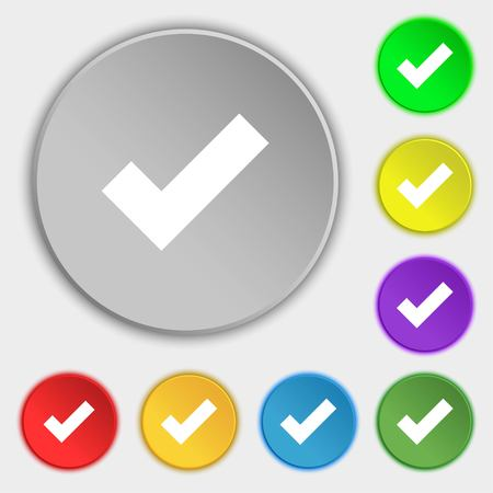 accepted label: Check mark sign icon . Confirm approved symbol. Symbols on eight flat buttons. Vector illustration Illustration