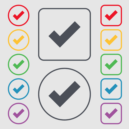 accepted: Check mark sign icon . Confirm approved symbol. Symbols on the Round and square buttons with frame. Vector illustration
