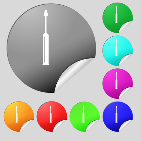 sig: Screwdriver tool sign icon. Fix it symbol. Repair sig. Set of eight multi colored round buttons, stickers. Vector illustration Illustration