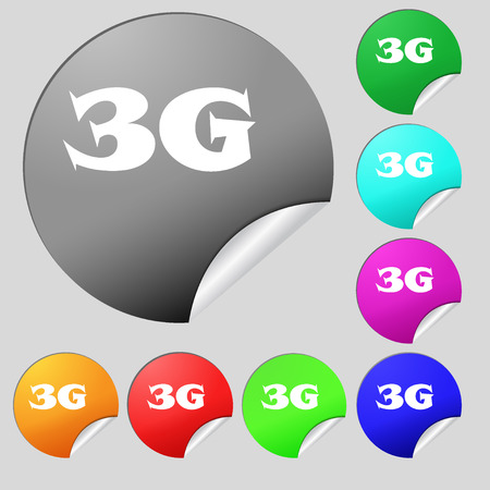 3g: 3G sign icon. Mobile telecommunications technology symbol. Set of eight multi colored round buttons, stickers. Vector illustration