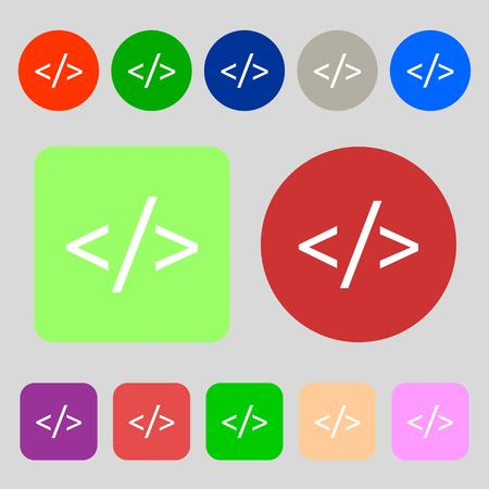 programming code: Code sign icon. Programming language symbol.12 colored buttons. Flat design. Vector illustration Illustration