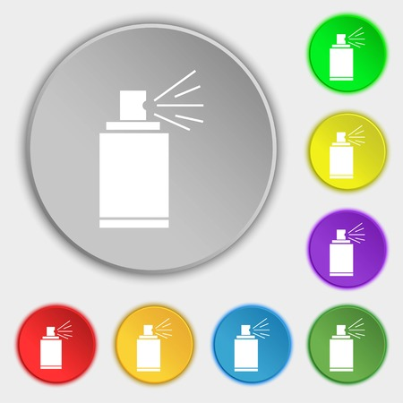 spray paint can: Graffiti spray can sign icon. Aerosol paint symbol. Symbols on eight flat buttons. Vector illustration