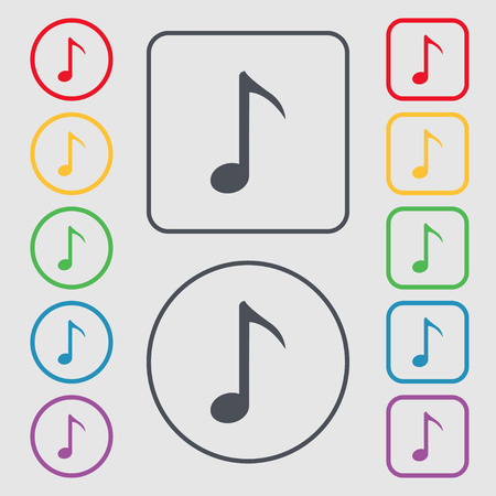 sign simplicity: Music note icon sign. Symbols on the Round and square buttons with frame. Vector illustration