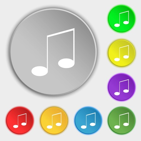 eight note: Music note sign icon. Musical symbol. Symbols on eight flat buttons. Vector illustration
