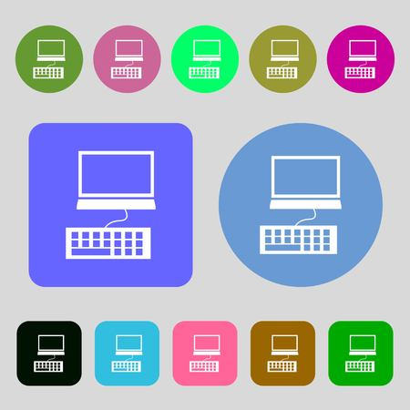 qwerty: Computer monitor and keyboard Icon.12 colored buttons. Flat design. Vector illustration Illustration