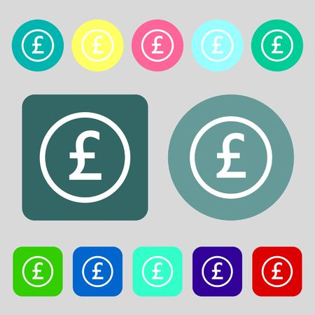 sterling: Pound sterling icon sign.12 colored buttons. Flat design. Vector illustration