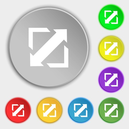 wider: Deploying video, screen size icon sign. Symbols on eight flat buttons. Vector illustration