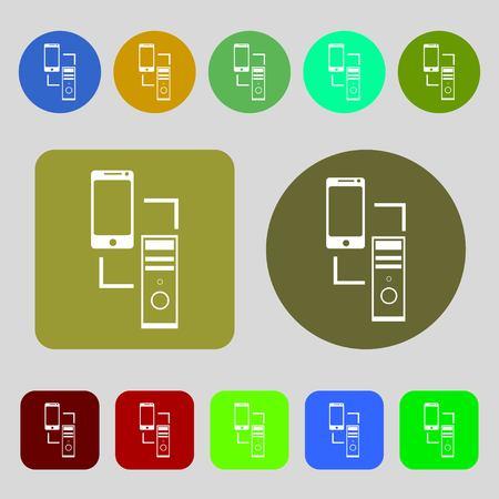 synchronization: Synchronization sign icon. communicators sync symbol. Data exchange.12 colored buttons. Flat design. Vector illustration Illustration