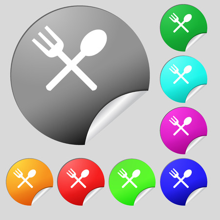 crosswise: Fork and spoon crosswise, Cutlery, Eat icon sign. Set of eight multi colored round buttons, stickers. Vector illustration
