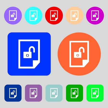 locked icon: File locked icon sign.12 colored buttons. Flat design. Vector illustration Illustration