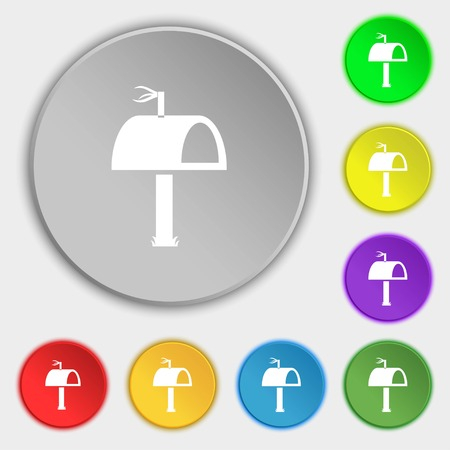media distribution: Mailbox icon sign. Symbols on eight flat buttons. Vector illustration