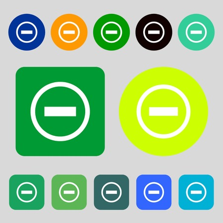 minus sign: Minus sign icon. Negative symbol. Zoom out.12 colored buttons. Flat design. Vector illustration Illustration