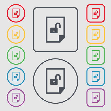 lockout: File unlocked icon sign. Symbols on the Round and square buttons with frame. Vector illustration