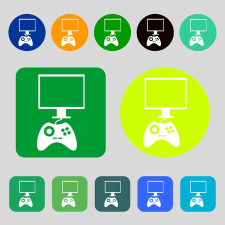 quality controller: Joystick and monitor sign icon. Video game symbol.12 colored buttons. Flat design. Vector illustration