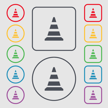 traffic pylon: road cone icon. Symbols on the Round and square buttons with frame. Vector illustration