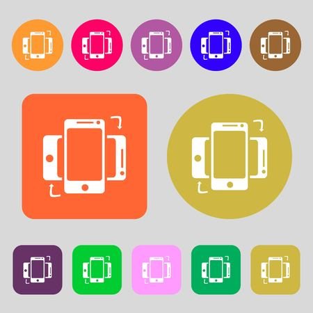 in sync: Synchronization sign icon. smartphones sync symbol. Data exchange.12 colored buttons. Flat design. Vector illustration Illustration