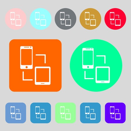 data synchronization: Synchronization sign icon. communicators sync symbol. Data exchange.12 colored buttons. Flat design. Vector illustration Illustration