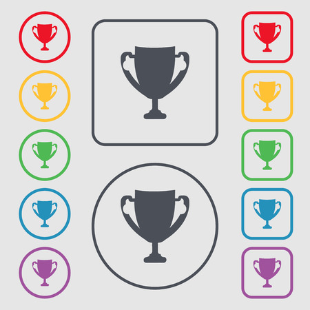 awarding: Winner cup sign icon. Awarding of winners symbol. Trophy. Symbols on the Round and square buttons with frame. Vector illustration