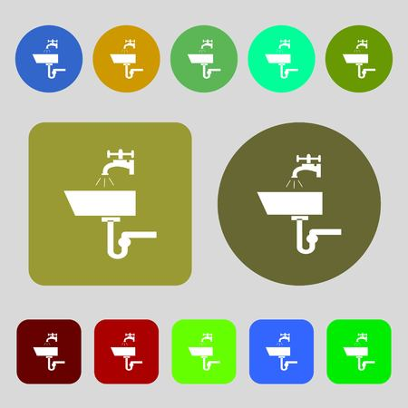 washstand: Washbasin icon sign.12 colored buttons. Flat design. Vector illustration Illustration