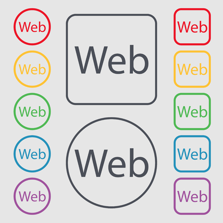 world wide web: Web sign icon. World wide web symbol. Symbols on the Round and square buttons with frame. Vector illustration