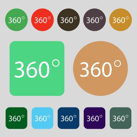math icon: Angle 360 degrees sign icon. Geometry math symbol. Full rotation.12 colored buttons. Flat design. Vector illustration