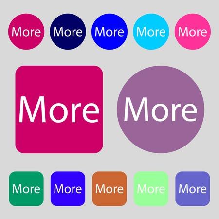 details: More sign icon. Details symbol. Website navigation.12 colored buttons. Flat design. Vector illustration Illustration