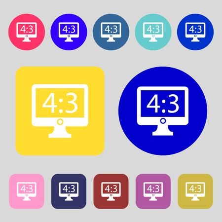 the ratio: Aspect ratio 4 3 widescreen tv icon sign.12 colored buttons. Flat design. Vector illustration