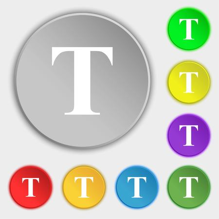 t document: Text edit icon sign. Symbols on eight flat buttons. Vector illustration Illustration