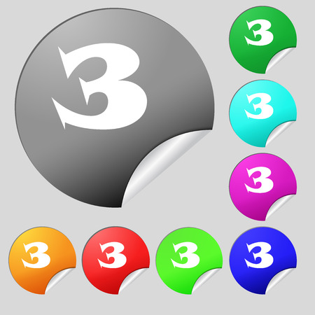 three colored: Third place award sign. Winner symbol. Step three. Set of eight multi colored round buttons, stickers. Vector illustration