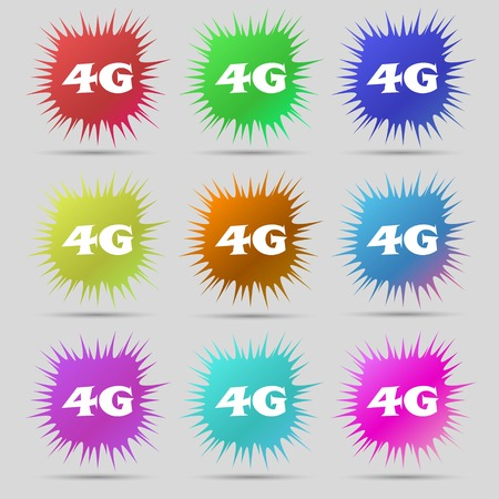 telecommunications technology: 4G sign icon. Mobile telecommunications technology symbol. Nine original needle buttons. Vector illustration