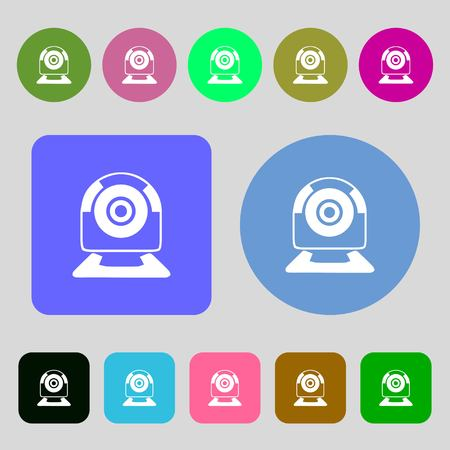 video chat: Webcam sign icon. Web video chat symbol. Camera chat.12 colored buttons. Flat design. Vector illustration Illustration