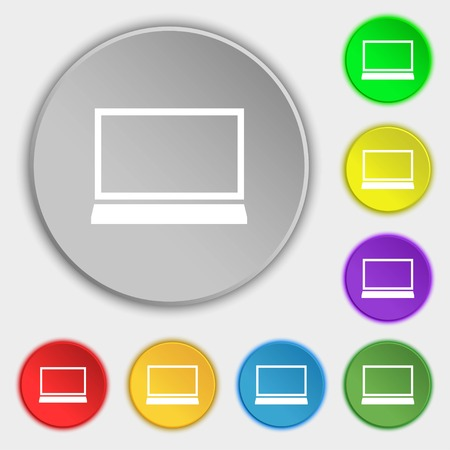 ultrabook: Laptop sign icon. Notebook pc symbol. Symbols on eight flat buttons. Vector illustration