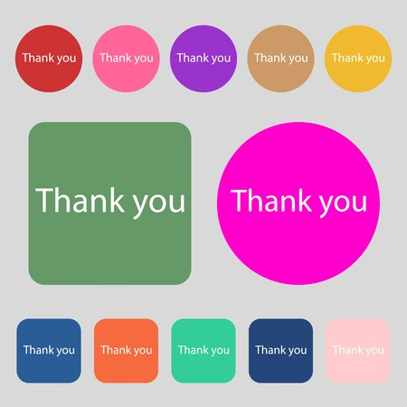 politeness: Thank you sign icon. Gratitude symbol.12 colored buttons. Flat design. Vector illustration